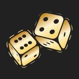 Złoty dices ikonę Dwa złocistej gemowej kostki do gry, kasynowego symbolu minimalny wektorowy projekt ilustracji