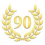 Złoty Laurowy wianek dla 90th rocznicy na białym tle ilustracji