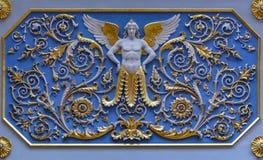 Złoty szczegół ozdobny sufit w eremu muzeum sztuki i kultura w Świątobliwym Petersburg, Rosja w zima pałac fotografia stock