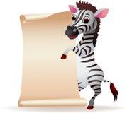 Zèbre avec le papier blanc de défilement Image libre de droits