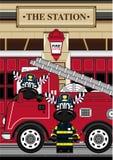 Zèbre de pompier de bande dessinée illustration stock