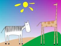 Zèbre et giraffe Illustration Stock