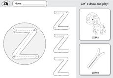 Zèbre et tirette de bande dessinée Fiche de travail de découverte d'alphabet : inscription d'A Photographie stock libre de droits