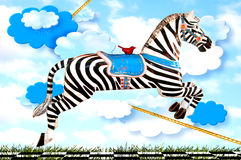 Zèbre lunatique de carrousel Photo stock