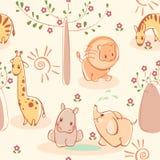 Zèbres, giraffes, éléphants, lions, hippopotames. Image libre de droits