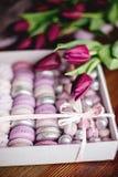 Zéfiro, bolinhos de amêndoa e tulipas imagem de stock royalty free