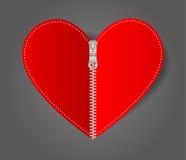 Zíper branco selado coração do vetor Fotografia de Stock