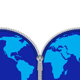 Zíper e mapa global ilustração stock