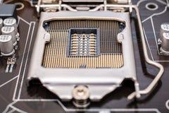 Zócalo de la CPU de la placa madre Imágenes de archivo libres de regalías