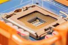 Zócalo de la CPU en la placa madre Imagen de archivo libre de regalías