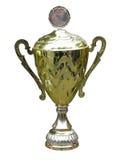 Zócalo de la taza del trofeo del oro con el espacio en blanco aislado foto de archivo libre de regalías