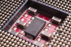Zócalo para instalar el procesador en el tablero imagenes de archivo