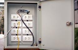Zócalos eléctricos peligroso atados con alambre en una caja del triturador foto de archivo