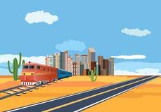 Züge in der Wüste, Stadtgebäude im Horizont lizenzfreie stockfotografie