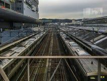 Züge stoppen im Bahnhof lizenzfreies stockfoto