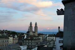 Zürich city in Switzerland. Zürich canton town in Switzerland with grossmuenster towers, lindenhof and niederdorf Royalty Free Stock Photography