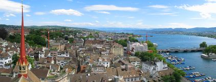 Zürich de stad in Royalty-vrije Stock Foto