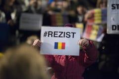 Zürich, am 5. Februar 2017 Protestieren Sie in Solidarität mit dem Protest gegen die Regierung in Bukarest Stockfotografie