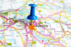 Zürich on map. With push pin. Zurich Stock Image