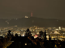 Zürich by Night with Uetliberg in the Background royalty free stock photos