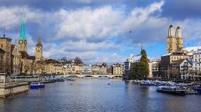 Zürich op een bewolkte dag in de winter Royalty-vrije Stock Fotografie