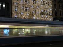 Zürich 's nachts in Kerstmistijd Stock Afbeelding