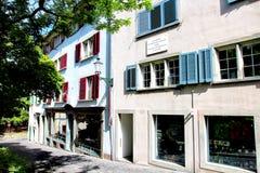 ZÜRICH, SWITZELAND - 08 Juni, 2014: De plaque op het huis (Spi Stock Foto's