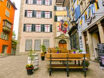 Zürich, Zwitserland - Mei 02, 2017: Het stadscentrum van Zürich, Zwitserland Royalty-vrije Stock Afbeeldingen