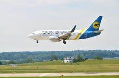 ZÜRICH, ZWITSERLAND - MEI 25, 2014: Vliegtuigen van de Oekraïne Internat Royalty-vrije Stock Fotografie