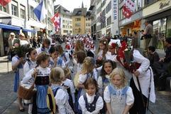 Zürichs Establishment is celebrating the traditional Sechseläu. Zürichs Establishment is celebrating the traditional Sechseläuten-Parade in the olt town royalty free stock images