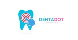 Ząb i stuknięcie loga kombinacja Stomatologiczna klinika, kursor ikona i symbol lub Unikalny wklęśnięcie i medyczny logotypu proj royalty ilustracja