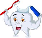 Ząb kreskówki mienia pasta do zębów i toothbrush royalty ilustracja