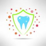 Ząb w osłony ikonie z bakteriami wokoło zęby Obrazy Stock