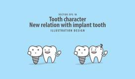 Zębu charakteru Nowy powiązanie między istnym zębem ilustracja wektor