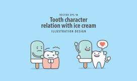 Zębu charakteru powiązanie z lody ilustracyjnym wektorem na b ilustracji