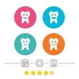 Zębu szczęśliwe, smutne i płacz twarzy ikony, ilustracji