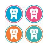 Zębu szczęśliwe, smutne i płacz twarzy ikony, ilustracja wektor