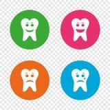 Zębu szczęśliwe, smutne i płacz twarzy ikony, royalty ilustracja