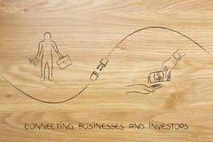 Złączeni biznesy i inwestorzy z biznesmenem, funduszu exch ilustracja wektor