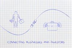 Złączeni biznesy i inwestorzy z biznesmenem, torba Mon ilustracja wektor