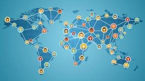 Złączeni ludzie światowego, Globalnego biznesu sieć, ogólnospołeczna medialna usługa 2 pomidoru ver royalty ilustracja