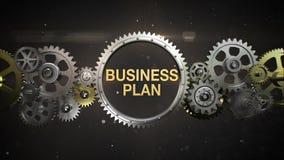 Złączeni przekładni koła, i robią słowu kluczowemu, 'plan biznesowy' (zawierać alfa) ilustracja wektor