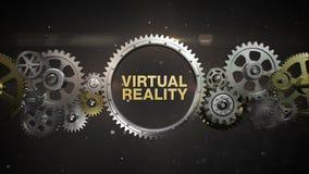 Złączeni przekładni koła i robią słowu kluczowemu, 'rzeczywistość wirtualna' royalty ilustracja