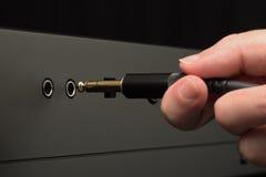 Złączona audio hełmofon dźwigarka obraz stock