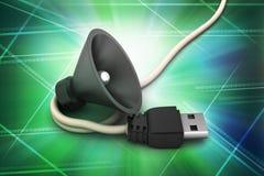 Złączony kabel z głośnym mówcą Zdjęcie Royalty Free