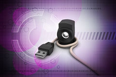 Złączony kabel z mówcą Zdjęcia Stock