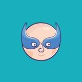 Zła chłopiec jest ubranym błękitnych szkła na błękitnym tle Zdjęcia Royalty Free