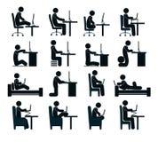 Zła i dobra działanie pozycja istota ludzka przy komputerem wewnątrz ilustracji