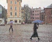 Zła pogoda Sleet w miasto opóźnionej jesieni Zdjęcia Stock