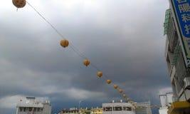 Zła pogoda & sznurek światła fotografia stock